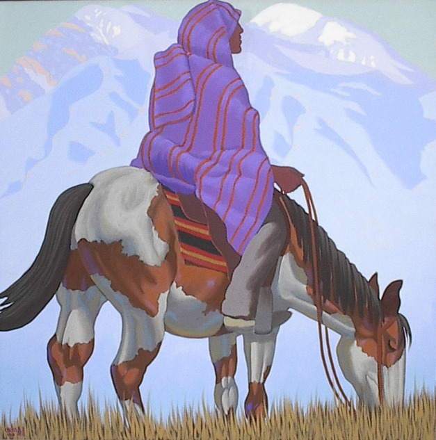 "Carlos Hall ""Taos Rider, Taos Mountain""  48 x 48, Oil on Canvas, $ 17,500"